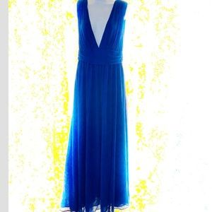 Lulus Blue Seep V neck Gown, very long Size L